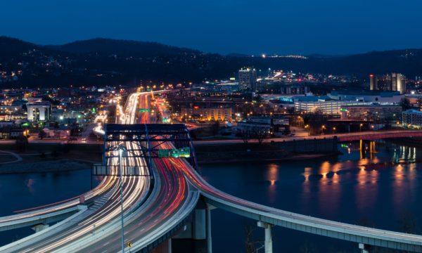 Traffic streaks across the Fort Hill Bridge in Charleston, West Virginia on December 18, 2014